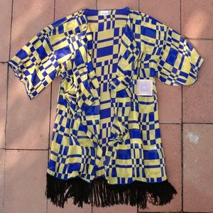 NWT LuLaRoe Blue & Yellow Block Print Shawl